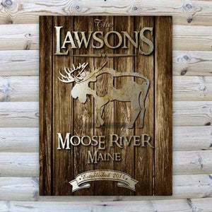 Personalized Rustic Wood Cabin Canvas Sign