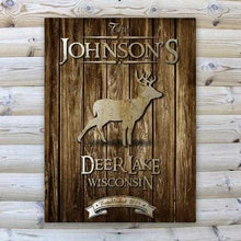 Load image into Gallery viewer, Personalized Rustic Wood Cabin Canvas Sign | JDS