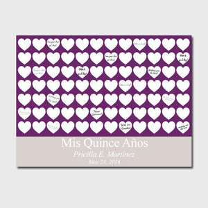 Personalized Quiceanera Guestbook Canvas -Plum Hearts | JDS