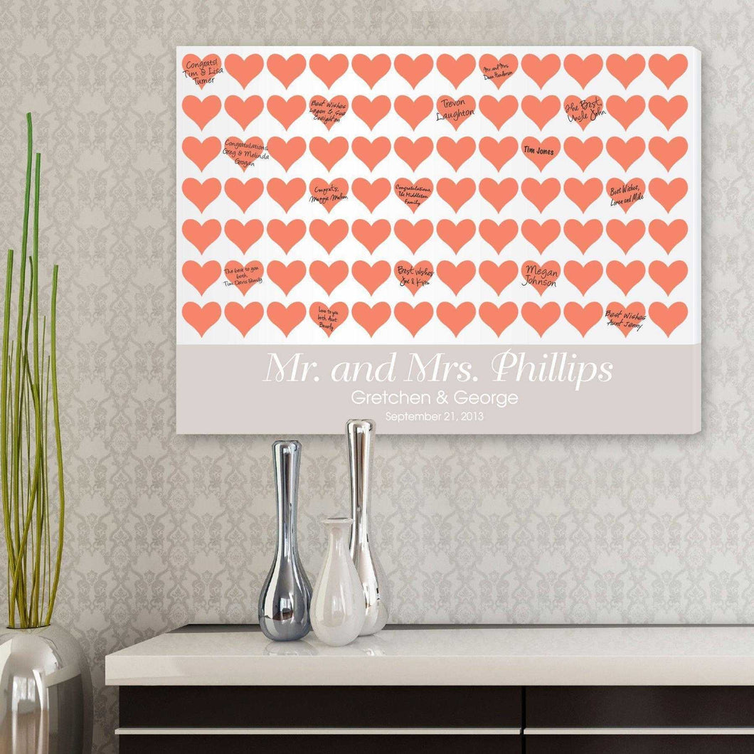 Personalized Guestbook Canvas - Poppy Hearts | JDS