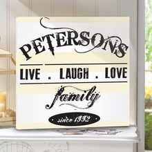 Load image into Gallery viewer, Personalized Live.Laugh.Love Canvas Sign - Cream and Green Designs | JDS