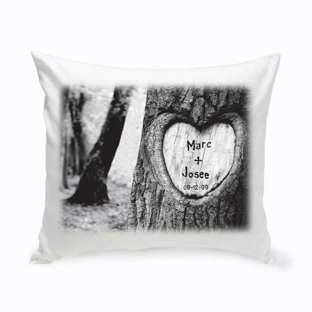 Personalized Everlasting Love Tree Carving Throw Pillow | JDS