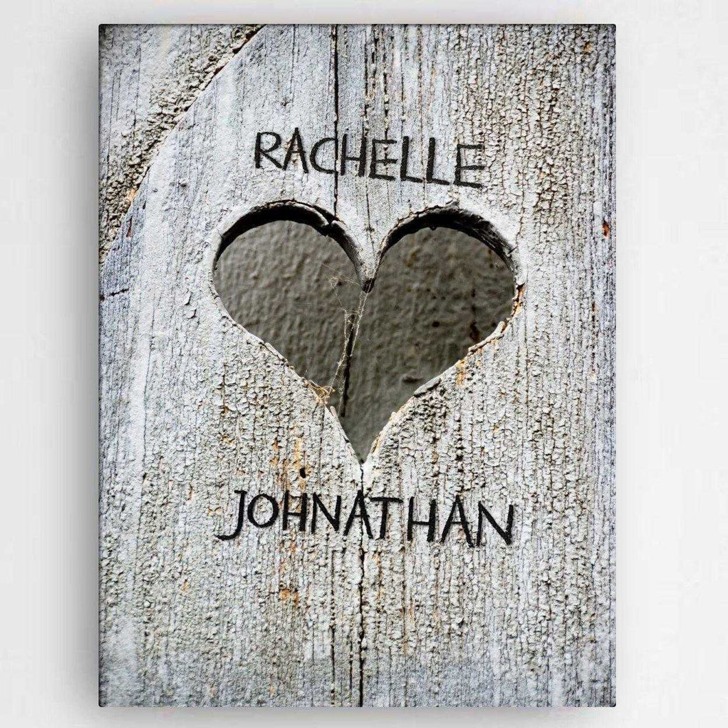 Personalized Hand Carved Heart Canvas Sign | JDS