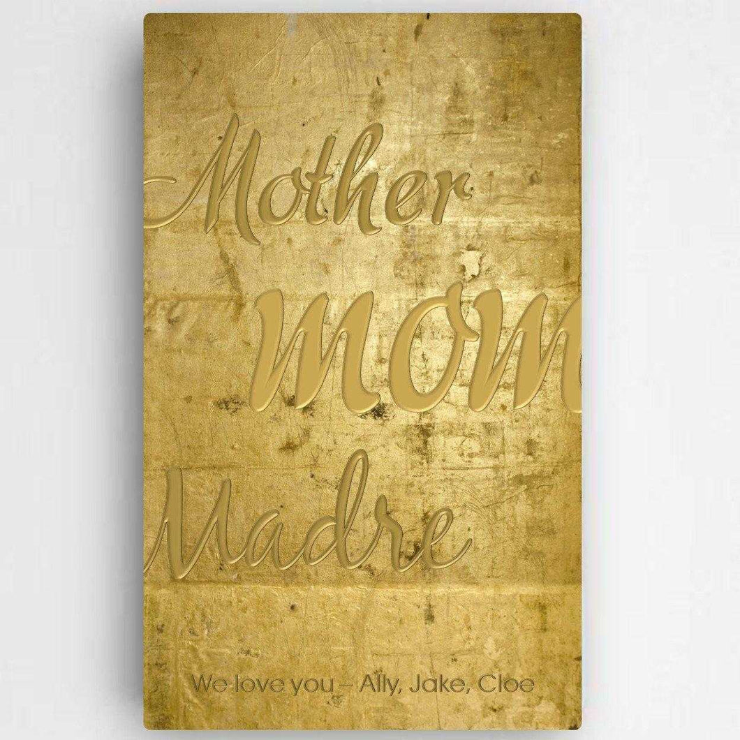 Personalized Mothers Gold Canvas Sign | JDS