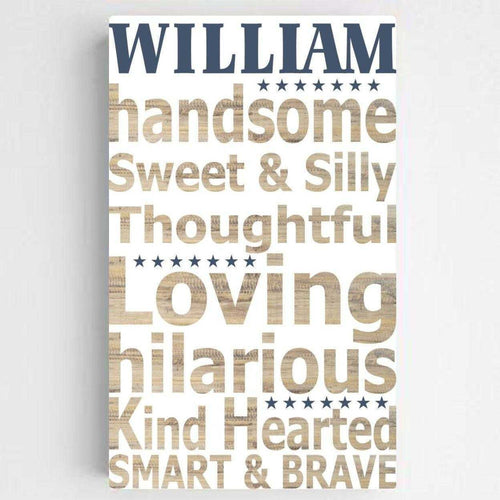 Personalized Boy Definition Canvas Sign | JDS