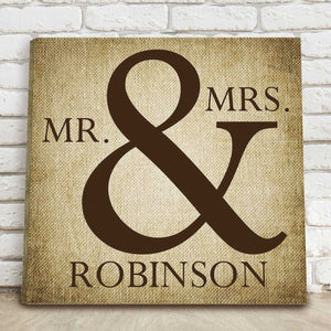 Personalized Mr & Mrs Canvas Print Sign