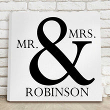 Load image into Gallery viewer, Personalized Mr & Mrs Canvas Print Sign