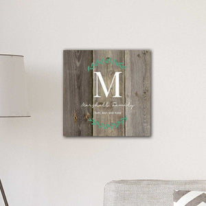 "Personalized Family Initial Vine 18"" x 18"" Canvas Signs 
