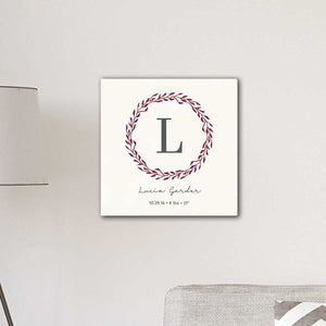 "Personalized Family Initial Wreath & Vine 18"" x 18"" Canvas Signs 
