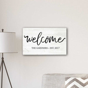 "Personalized Welcome Modern Farmhouse 14"" x 24"" Canvas Sign 