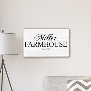 "Personalized Family Farmhouse Modern Farmhouse 14"" x 24"" Canvas 