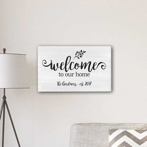 "Personalized Welcome To our Home Modern Farmhouse 14"" x 24"" Canvas 