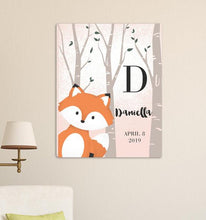 "Load image into Gallery viewer, Personalized Woodland Animal Canvas 18""x24"" 