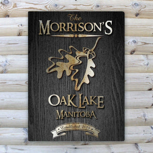 Personalized Midnight Wood Gain Welcome to the Lake Canvas Sign | JDS