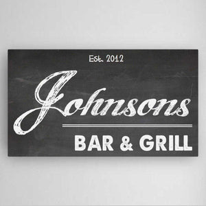 Personalized Home Bar Canvas Sign | JDS