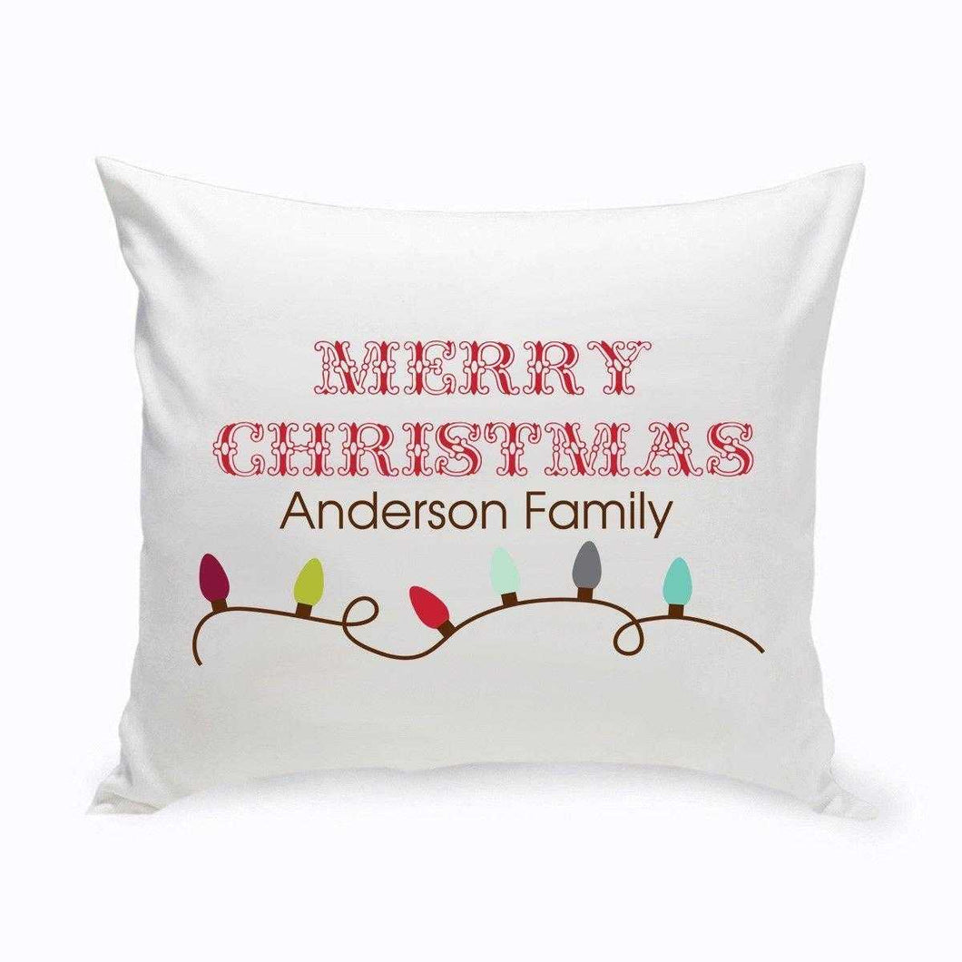 Personalized Holiday Throw Pillows - Xmas Lights | JDS