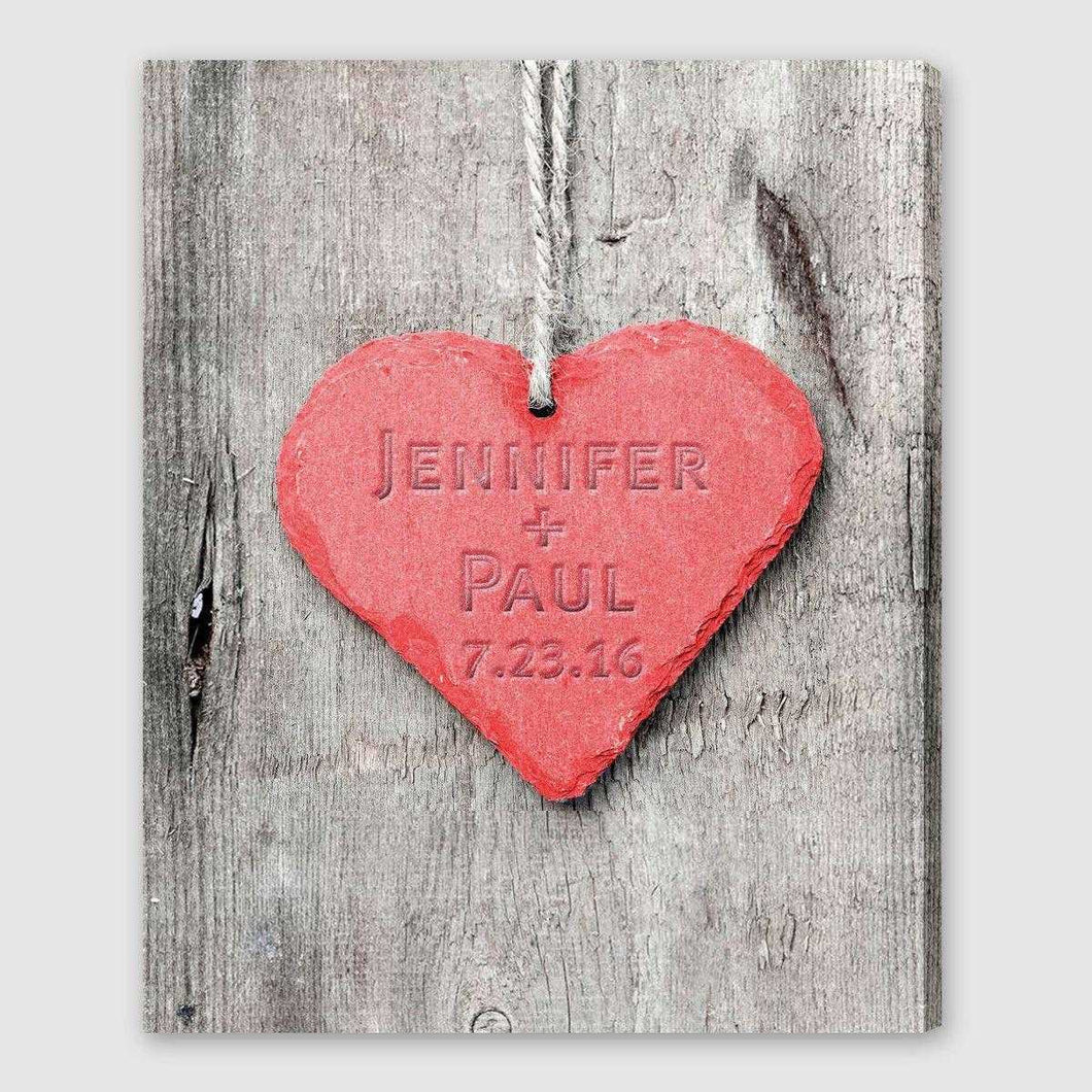 Personalized Embossed Heart Canvas Sign | JDS