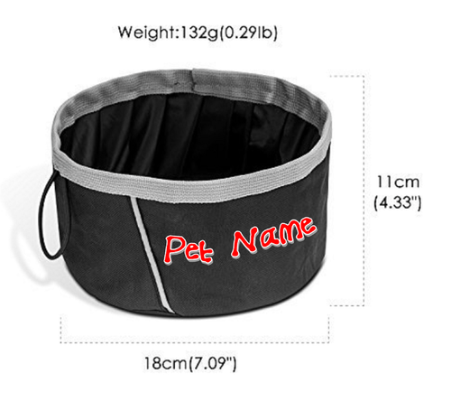 Custom Personalize Your Collapsible Pet/Dog/Cat Bowl with Pet Name or Text | DG Custom Graphics