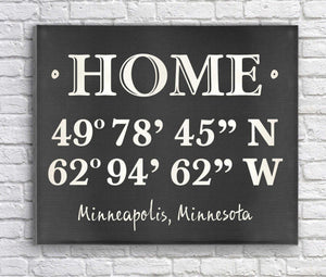 Personalized Home Coordinates Canvas Print | JDS