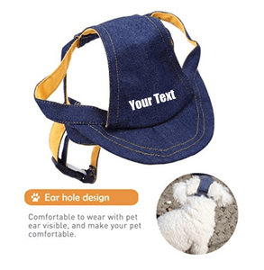 Custom Personalize Design Your Puppy Dog Denim Baseball Cap (Pet Clothing) | DG Custom Graphics