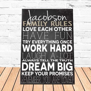 Personalized Family Love Rules Canvas Sign | JDS