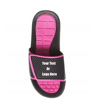 Load image into Gallery viewer, Custom designed girl & boys (kids) athletic slides with your personal or business logo.