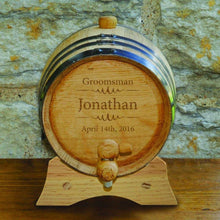 Load image into Gallery viewer, Groomsmen Oak Whiskey Barrel - 2 Liter Barrel - Bourbon Barrel | JDS