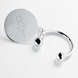 Personalized Keychain - Monogram - Silver - Round Key Ring | JDS