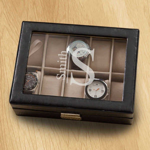 Monogrammed Watch Box - Black Leather - Holds 10 Watches | JDS