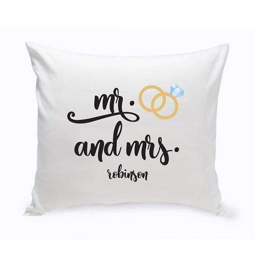 Personalized Mr. & Mrs. Wedding Ring Throw Pillow | JDS