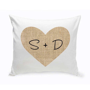 Personalized Couples Throw Pillows - Burlap Heart | JDS