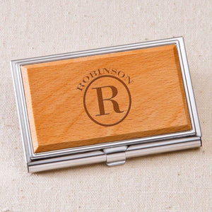 Monogrammed Wood Business Card Case | JDS