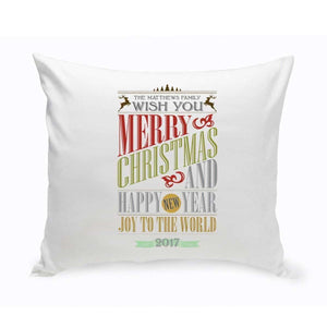 Personalized Vintage Christmas Throw Pillow - All | JDS