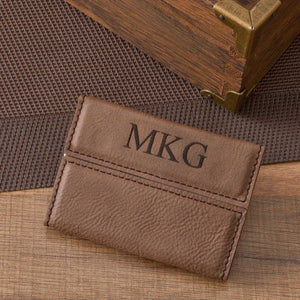 Personalized Mocha Microfiber Business Card Case | JDS