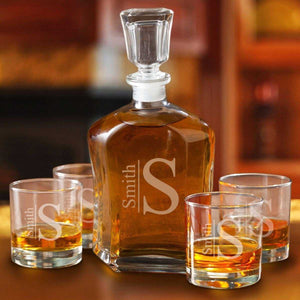 Personalized Decanter set with 4 Low Ball Glasses | JDS