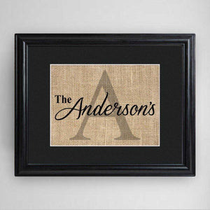 Personalized Family Name & Initial Framed Print | JDS