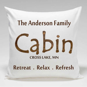 Personalized Cabin Throw Pillow | JDS