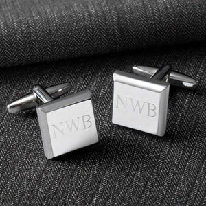 Personalized Cufflinks - Silver - Modern - Square - Groomsmen Gifts | JDS