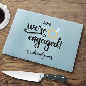 We're Engaged Personalized Glass Cutting Board | JDS