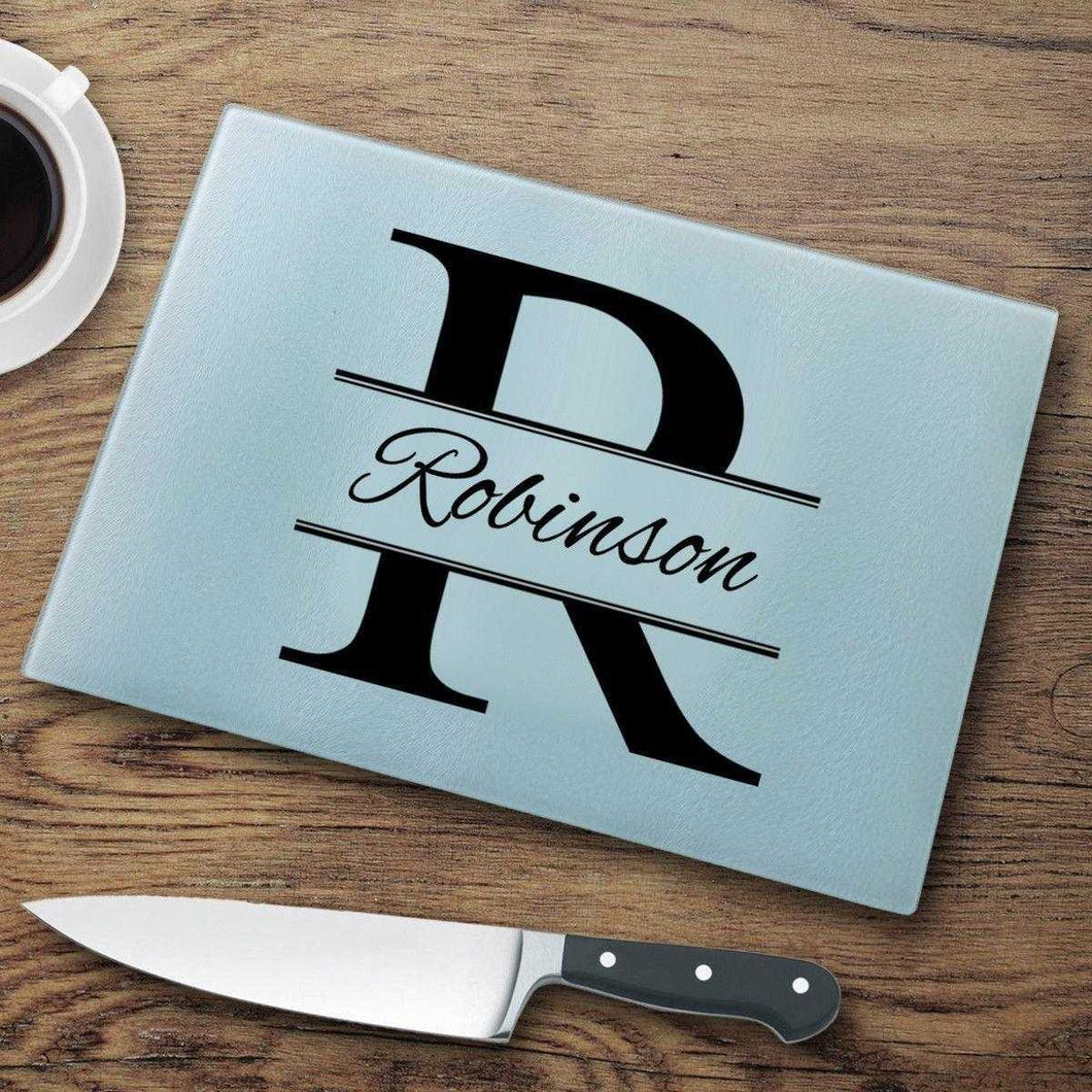 Personalized Glass Cutting Board - Stamped Monogram | JDS
