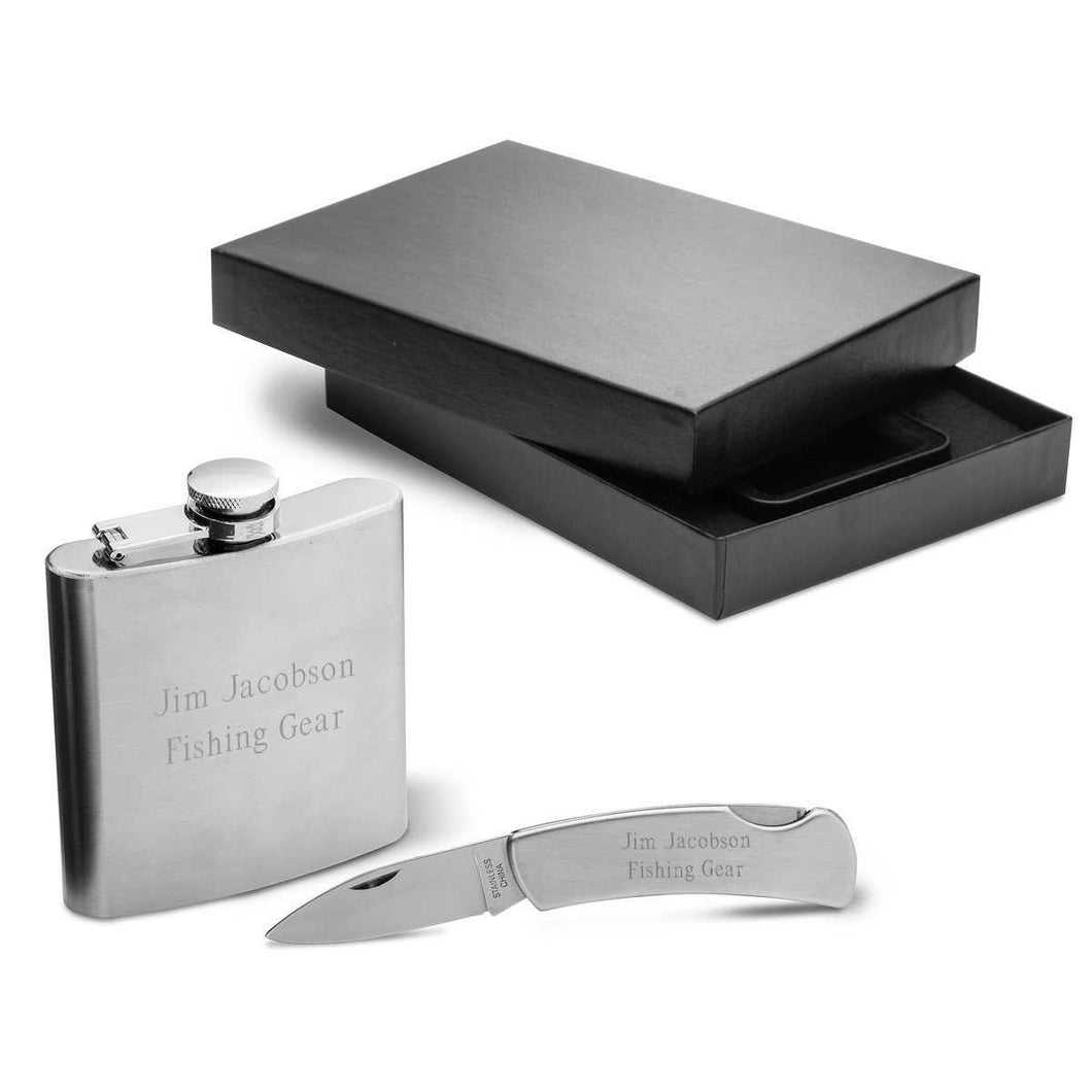 Personalized 6oz Stainless Steel Flask w/ Lock Back Knife Gift Set | JDS