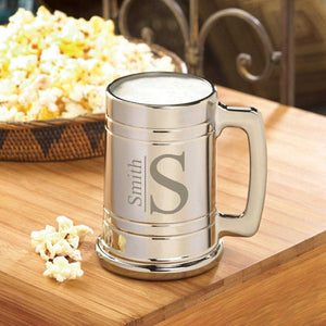 Personalized Beer Mugs - Gunmetal - Monogram - 16 oz. | JDS