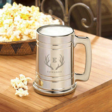 Load image into Gallery viewer, Personalized Beer Mugs - Gunmetal - Monogram - 16 oz.