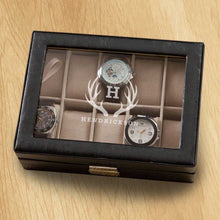 Load image into Gallery viewer, Monogrammed Watch Box - Black Leather - Holds 10 Watches | JDS