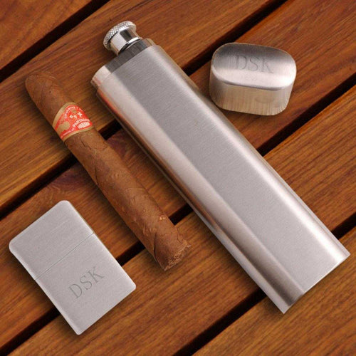 Personalized Flask and Cigar Case - Lighter - Brushed Silver - Gift Set | JDS
