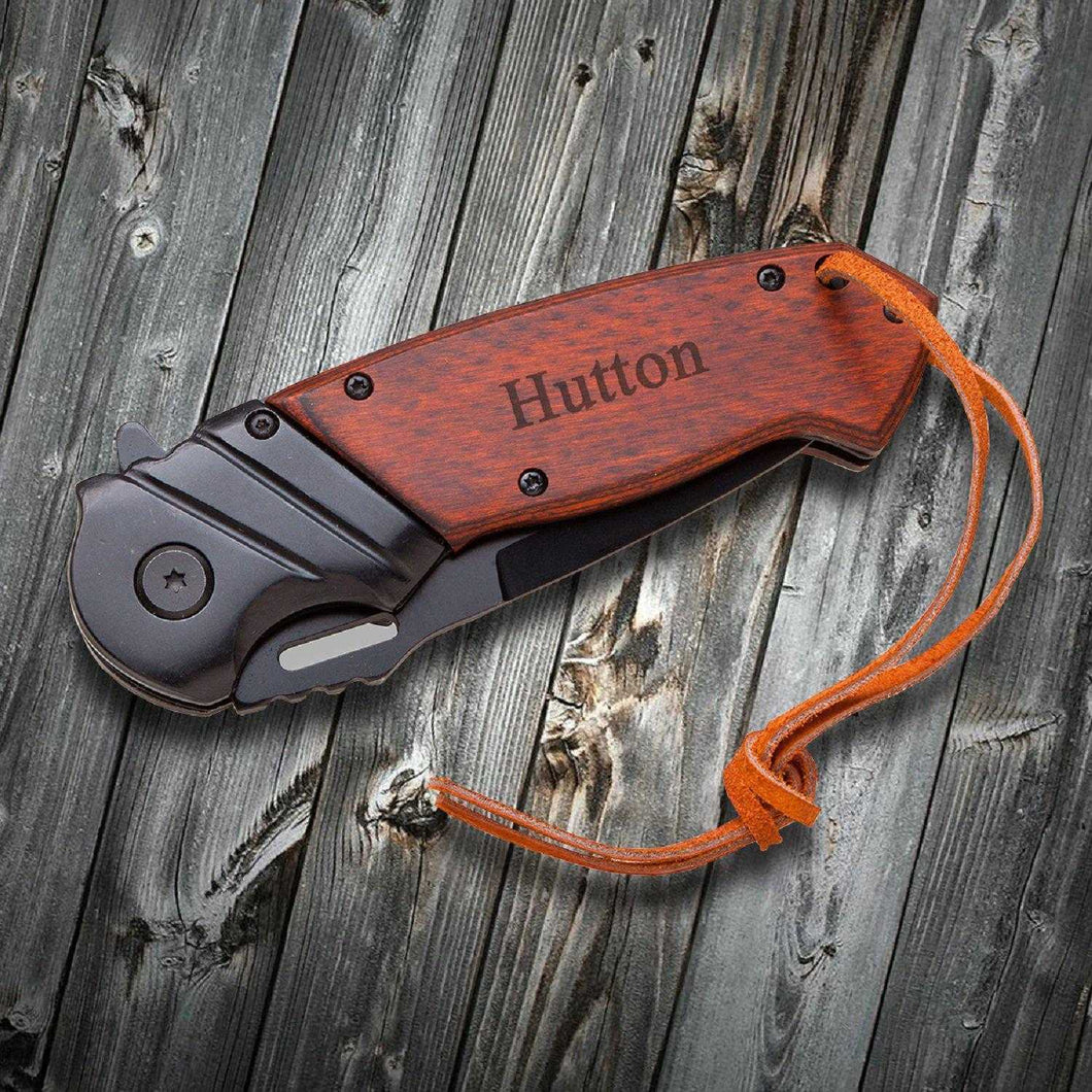 Saw Mountain Personalized Wood Handle Spring Assisted Pocket Knife With Leather Wrist Lanyard | JDS