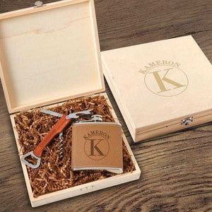 Personalized Kelso Groomsmen Flask Gift Box Set | JDS