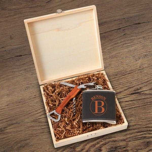 Personalized Dunbar Groomsmen Flask Gift Box Set | JDS