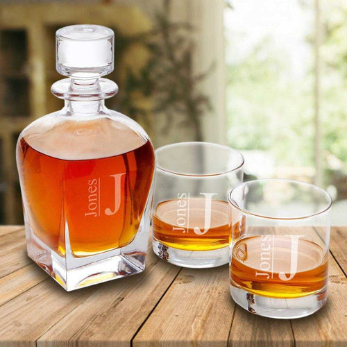Personalized Antique 24 oz. Whiskey Decanter - Set of 2 Lowball Glasses | JDS