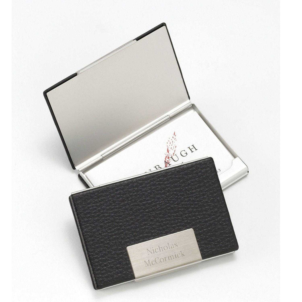 Personalized Business Card Holder - Black Leather - Executive Gifts | JDS